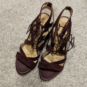 Sam Edelman Yardley Port Wine Lace Up Heels